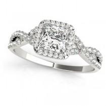 Twisted Princess Moissanite Bridal Sets 18k White Gold (1.07ct)