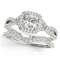 Twisted Princess Diamond Engagement Ring Bridal Set 18k White Gold (1.57ct)