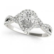 Twisted Pear Moissanite Bridal Sets 18k White Gold (0.57ct)