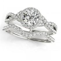 Twisted Round Diamond Engagement Ring Bridal Set 18k White Gold (1.07ct)