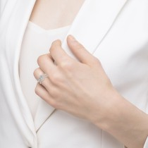 Twisted Infinity Engagement Ring Bridal Set 18k White Gold 0.27ct