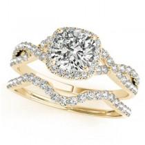 Twisted Cushion Diamond Engagement Ring Bridal Set 18k Yellow Gold (1.07ct)