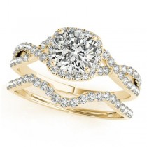 Twisted Cushion Diamond Engagement Ring Bridal Set 18k Yellow Gold (1.57ct)