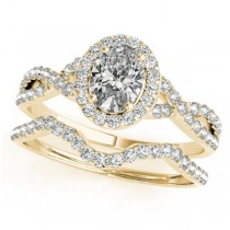 Twisted Oval Diamond Engagement Ring Bridal Set 18k Yellow Gold (1.07ct)