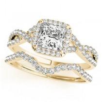 Twisted Princess Diamond Engagement Ring Bridal Set 18k Yellow Gold (0.57ct)