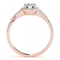 Twisted Lab Grown Diamond Infinity Engagement Ring Bridal Set 14k Rose Gold 0.27ct