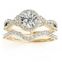Twisted Lab Grown Diamond Infinity Engagement Ring Bridal Set 14k Yellow Gold 0.27ct