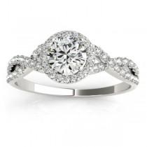Twisted Lab Grown Diamond Infinity Engagement Ring Bridal Set 18k White Gold 0.27ct