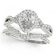 Twisted Pear Diamond Engagement Ring Bridal Set Palladium (1.57ct)