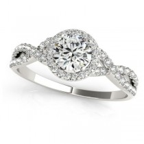 Twisted Round Moissanite Bridal Sets Palladium (1.57ct)