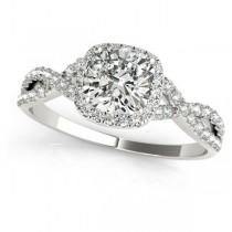 Twisted Cushion Moissanite Bridal Sets Platinum (1.07ct)