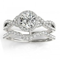 Twisted Infinity Engagement Ring Bridal Set Platinum 0.27ct
