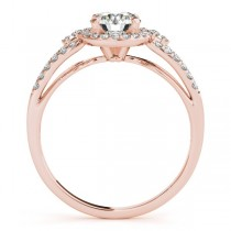 Split Shank Halo Diamond Engagement Ring Setting 14k Rose Gold 0.30ct