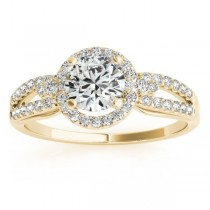Split Shank Halo Diamond Engagement Ring Setting 14k Y. Gold (0.30ct)