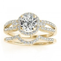 Diamond Engagement Ring Setting & Wedding Band 14k Yellow Gold 0.41ct