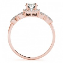 Halo Engagement Ring Setting, 4 Circles of Diamonds 14k R. Gold 0.25ct