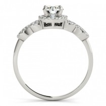 Halo Engagement Ring Setting, 4 Circles of Diamonds 14k W. Gold 0.25ct