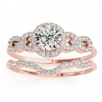 Diamond Halo Twisted Engagement Ring & Band Set 14k Rose Gold 0.35ct