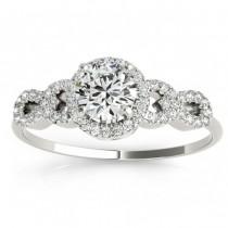 Diamond Halo Twisted Engagement Ring & Band Set 14k White Gold 0.35ct