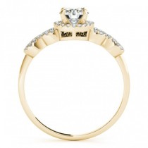 Diamond Halo Twisted Engagement Ring & Band Set 14k Yellow Gold 0.35ct