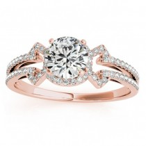 Diamond Engagement Ring Halo With Arrows 14k Rose Gold 0.38ct