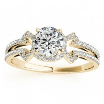 Diamond Engagement Ring Halo With Arrows 14k Yellow Gold 0.38ct