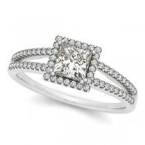 Princess Cut Diamond Halo Engagement Ring Split Shank 14k W Gold 0.70ct