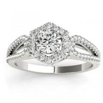 Diamond Shaped Halo Diamond Engagement Ring 14k White Gold 0.37ct