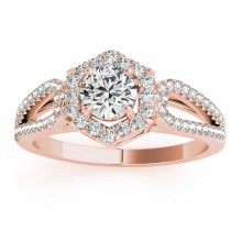 Diamond Halo Accented Engagement Ring Setting 18k Rose Gold 0.37ct