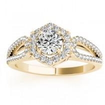 Diamond Halo Accented Engagement Ring Setting 18k Yellow Gold 0.37ct