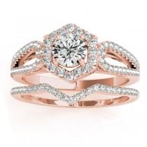 Diamond Halo Accented Bridal Set 14k Rose Gold 0.51ct