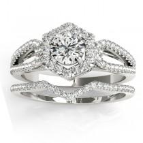 Diamond Halo Accented Bridal Set 14k White Gold 0.51ct