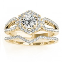 Diamond Halo Accented Bridal Set 14k Yellow Gold 0.51ct