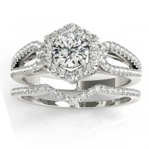 Diamond Halo Accented Bridal Set Palladium 0.51ct