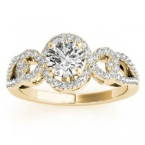 Twisted Shank Halo Diamond Engagement Ring Setting 14k Y. Gold 0.35ct