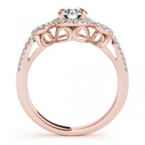 Diamond Engagement Ring Setting & Wedding Band 14k Rose Gold (0.50ct)