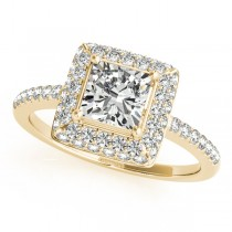 Cushion Cut Diamond Halo Engagement Ring 14k Yellow Gold (2.00ct)