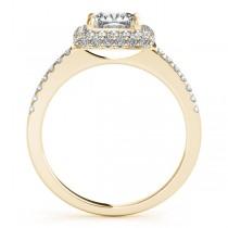 Cushion Cut Diamond Halo Engagement Ring 14k Yellow Gold (2.00ct)
