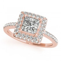 Princess Cut Diamond Halo Engagement Ring 14k Rose Gold (2.00ct)