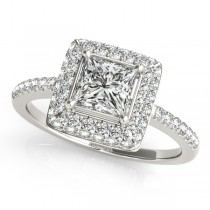 Princess Cut Diamond Halo Engagement Ring 14k White Gold (2.00ct)