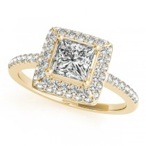 Princess Cut Diamond Halo Engagement Ring 18k Yellow Gold (2.00ct)
