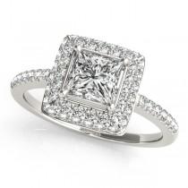 Princess Cut Diamond Halo Engagement Ring Platinum (2.00ct)
