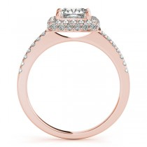 Cushion Cut Diamond Halo Bridal Set 14k Rose Gold (2.20ct)