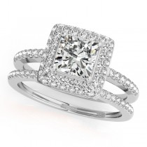 Cushion Cut Diamond Halo Bridal Set 14k White Gold (2.20ct)