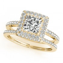 Cushion Cut Diamond Halo Bridal Set 18k Yellow Gold (2.20ct)