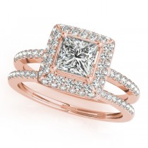 Princess Cut Diamond Halo Bridal Set 18k Rose Gold (2.20ct)