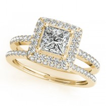 Princess Cut Diamond Halo Bridal Set 18k Yellow Gold (2.20ct)