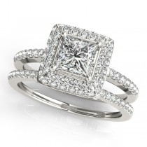 Princess Cut Diamond Halo Bridal Set Palladium (2.20ct)