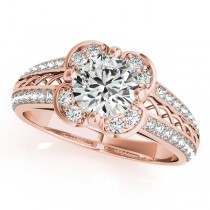 Micro-pave' Flower Halo Diamond Engagement Ring 18k Rose Gold (2.00ct)