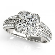 Micro-pave' Flower Halo Diamond Engagement Ring Platinum (2.00ct)